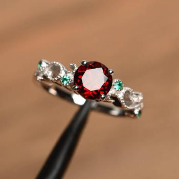 Garnet Ring Sterling Silver January Birthstone Engagement Ring For Women