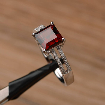 Garnet Ring Silver Square Cut January Birthstone Ring Engagement Ring