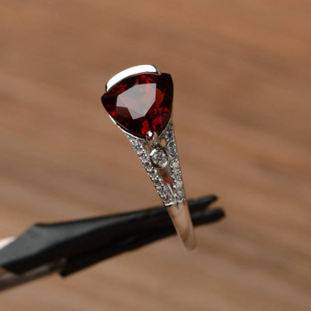 Triangle Cut Sterling Silver Ring Red Gemstone January Birthstone Ring