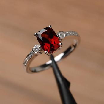 Genuine Natural  Cushion Cut Garnet Ring Engagement Promise Ring