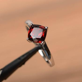 Red Gemstone Cushion Cut Gems Sterling Silver Ring Garnet Ring
