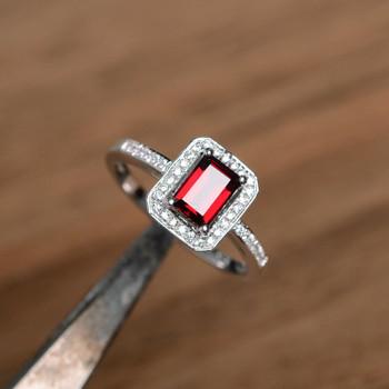 Natural Garnet Ring Red Gemstone Ring Silver Ring Promise Ring