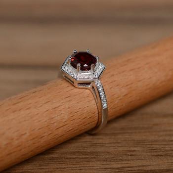 Dark Red Stone Round Cut Garnet Engagement Ring Promise Ring