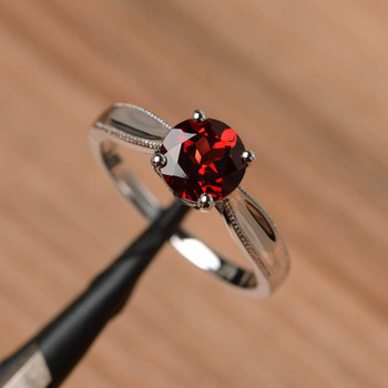 Red Garnet Ring Solitaire Ring Wedding Ring Sterling Silver Ring