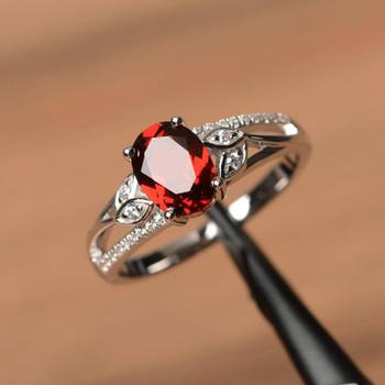 Garnet Ring January Birthstone Ring Red Gemstone Oval Cut Silver Ring