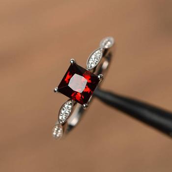 Silver Rings Princess Cut Rings Red Garnet Rings Anniversary Rings