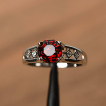 Octagon Cut Red Garnet Rings Unique Engagement Rings Silver Rings