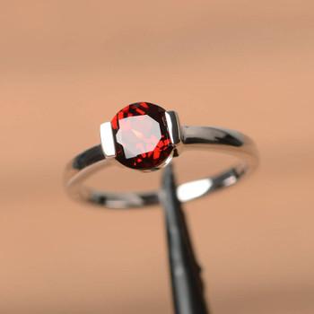 January Birthstone Red Gemstone Garnet Ring Sterling Silver Ring