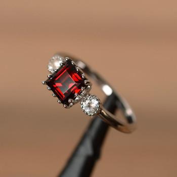 Square Cut Garnet Ring January Birthstone Red Gemstone Ring Silver Ring
