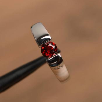 Garnet Ring Promise Ring Natural Red Garnet Ring Round Cut Gemstone Ring