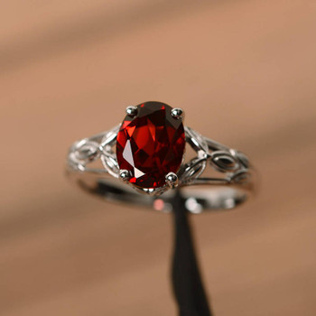 Oval Cut Real Natural Red Garnet Ring Engagement Wedding Ring
