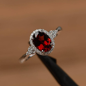 Genuine Natural Garnet Ring Oval Cut Promise Wedding Ring Silver Ring
