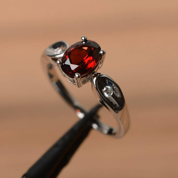 Natural Garnet Ring Wedding Ring January Birthstone Oval Cut Gemstone Ring