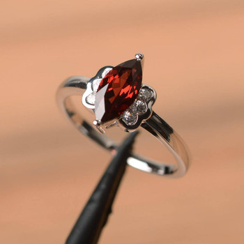 Wedding Ring Natural Garnet Ring Marquise Cut January Birthstone Silver Ring
