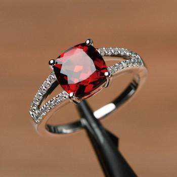 Cushion Cut January Birthstone Ring Silver Ring Red Gemstone Ring