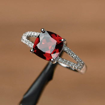 Cushion Cut January Birthstone Ring Silver Ring Red Gemstone Ring