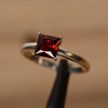 Princess Cut Gemstone Red Garnet Ring January Birthstone Ring Promise Ring
