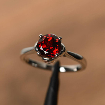 Red Gemstone Round Cut Rings Silver Rings January Birthstone Ring