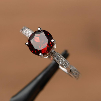 Red Garnet Ring Brilliant Cut Red Gemstone Ring January Bridal Ring