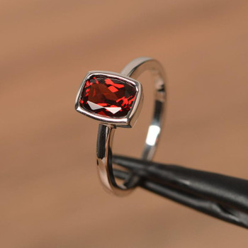 Garnet Ring January Birthstone Ring Cushion Cut  Sterling Silver Ring