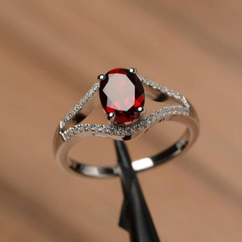 Sterling Silver Oval Cut Red Gemstone Ring January Birthstone Promise Ring
