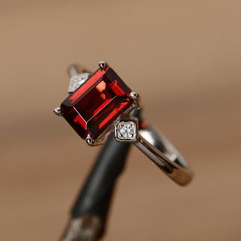 Emerald Cut Ring Multistone Ring Promise Ring Natural Gemstone Ring