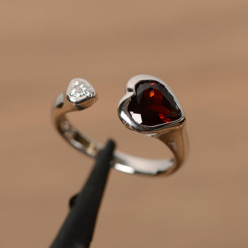 Heart Cut Red Garnet Ring Sterling Silver Gemstone Ring Promise Ring