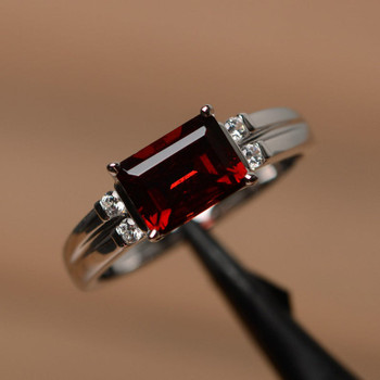 Red Garnet Ring January Birthstone Ring Emerald Cut Red Gemstone Ring