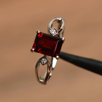 Sterling Silver Natural Red Garnet Ring Emerald Cut Gemstone Birthston Ring
