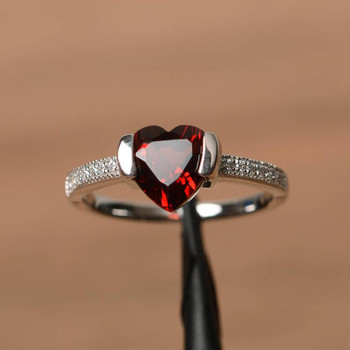 Heart Cut red Gemstone Sterling Silver Ring Natural Garnet Ring