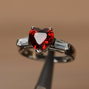 January Birthstone Ring Heart Cut Engagement Ring With Baguette Promise Ring