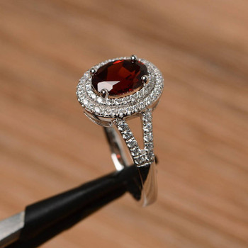 Oval Cut Red Gemstone January Birthstone Ring Garnet Promise Ring