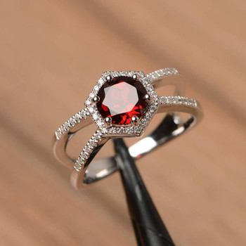 Garnet Ring Sterling Silver Halo Engagement Ring Split Band Red Gemstone Ring
