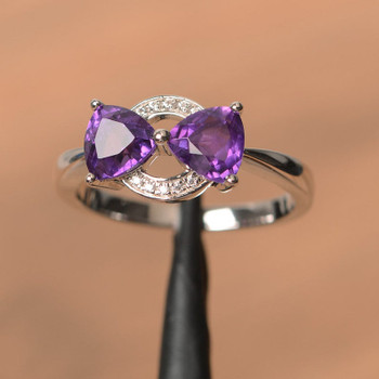 Sterling Silver Ring Purple Gemstone Ring February Birthstone Ring