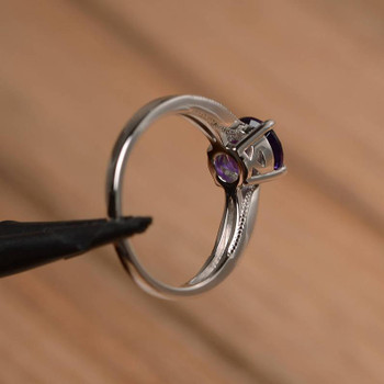 Amethyst Ring Sterling Silver Round Cut Solitaire Engagement Birthstone Ring