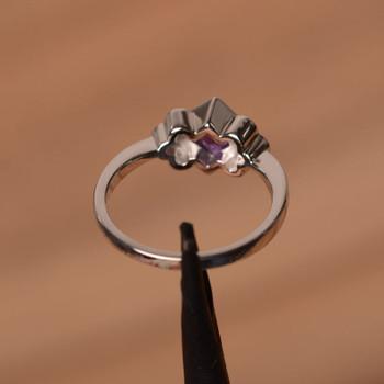 Bezel Setting Ring Natural Amethyst Rings Princess Cut Ring Silver Ring