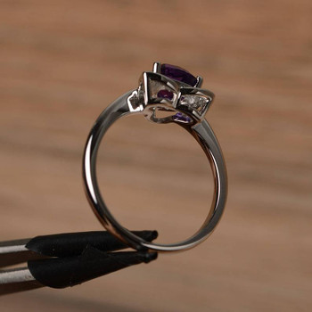 Trillion Cut Sterling Silver Ring Purple Gemstone Ring February Birthstone Ring