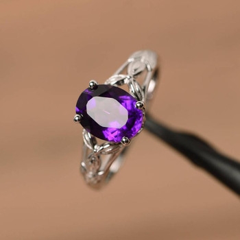 Natural Amethyst Ring Engagement Ring Oval Silver Ring Purple Gemstone Ring