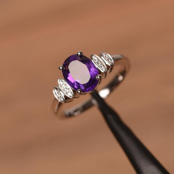 Amethyst Ring Engagement Anniversary Ring Sterling Silver Ring Birthstone Ring