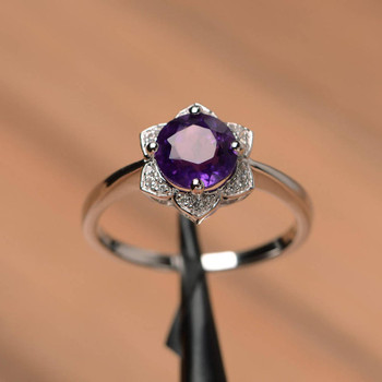 Amethyst Ring Sterling Silver Round Cut Halo Engagement Ring For Women