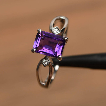 Purple Amethyst Emerald Cut Ring Promise Ring February Birthstone Ring