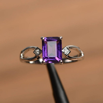 Purple Amethyst Emerald Cut Ring Promise Ring February Birthstone Ring