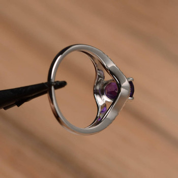 Oval Cut Gemstone February Birthstone Ring Amethyst Sterling Silver Ring