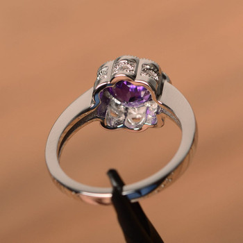 Round Cut Gemstone Sterling Silver Flower Shape Halo Simple Wedding Ring