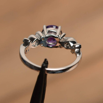 Silver Round Cut February Birthstone Amethyst Ring Engagement Ring