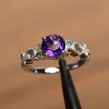 Silver Round Cut February Birthstone Amethyst Ring Engagement Ring