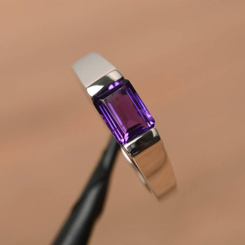 Natural Amethyst Ring Promise Ring Emerald Cut Gemstone Silver Ring