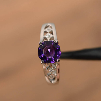 Natural Amethyst Rings Sterling Silver Vintage Ring February Ring