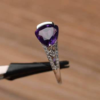 February Birthstone Purple Gemstone Ring Trillion Cut Silver Amethyst Ring