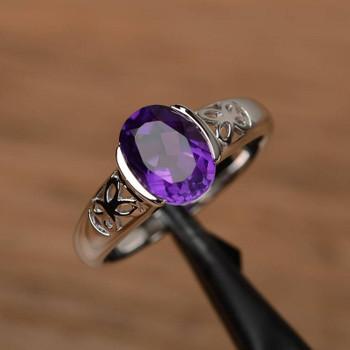 Oval Cut Gemstone Engagement Sterling Silver Ring Genuine Amethyst Ring